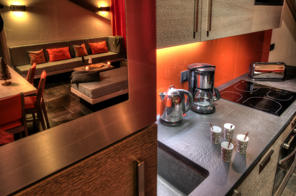 Kitchen, self-catering apartment, Montana Plein Sud Val Thorens