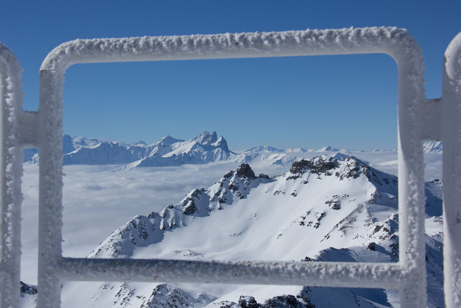 View from Cime de Caron, Val Thorens, towards les Aiguilles d'Arves