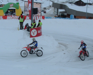 Motocross bikes at the Trophée Andros, Val Thorens