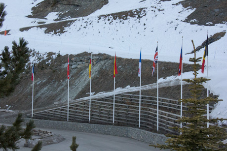 Flags in Val Thorens