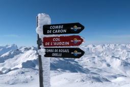 Signpost at the top of Cime de Caron, Val Thorens