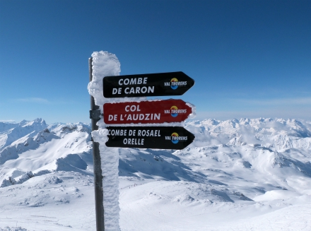 Signpost on Cime de Caron, Val Thorens