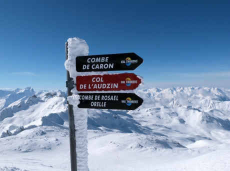 Combe de Caron sign, Val Thorens