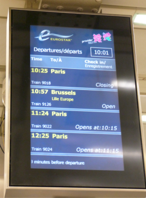 Travel to Val Thorens by train - Eurostar info screen