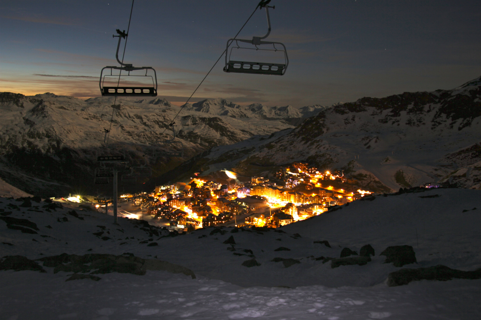 Evening view of Val Thorens from Cascades, 13th December 2016