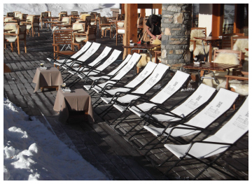 Terrace of the Hotel Fitz Roy, Val Thorens