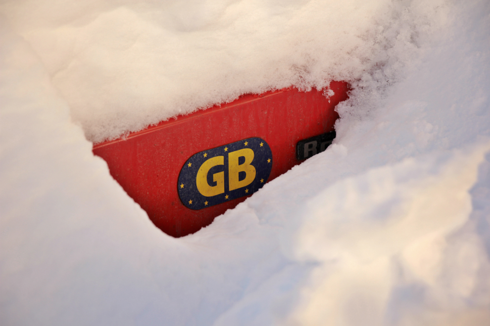 GB sticker and snow
