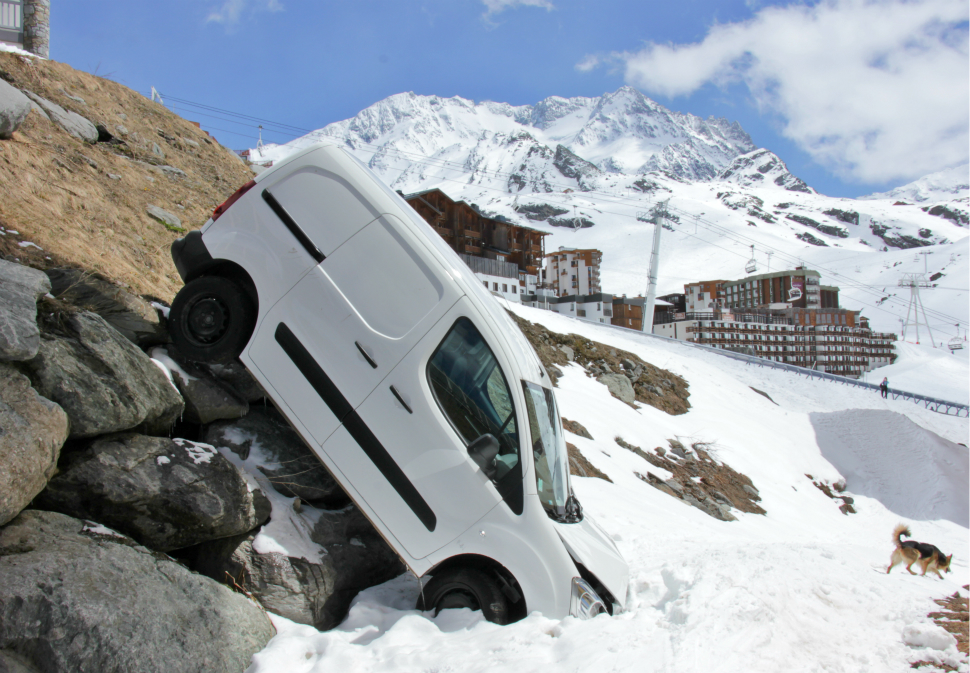 Badly-parked car in Val Thorens