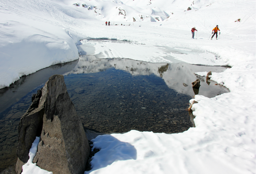 Ice-free section of Lac du Lou in spring