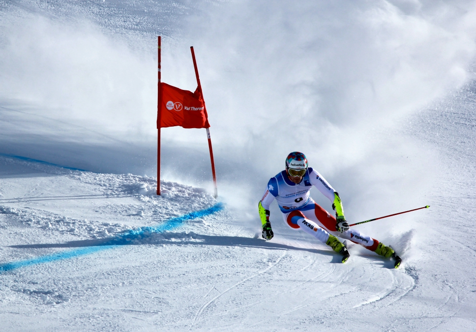 Daniel Yule at a giant slalom race in Val Thorens