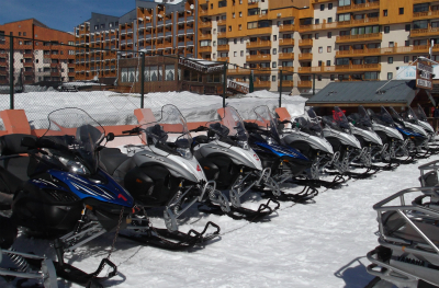 Snowmobiles parked in Val Thorens