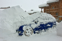 Snow-covered car, Val Thorens