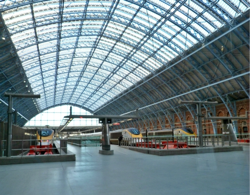 Eurostar trains at St Pancras station