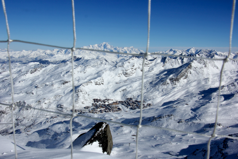 Val Thorens and Mont Blanc behind