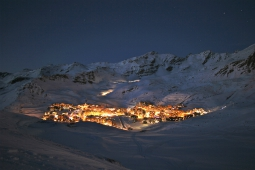 The resort of Val Thorens in the evening
