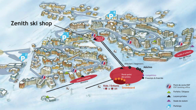 Val Thorens ski hire and snowboard hire booking, location of Zenith ski shop, Val Thorens