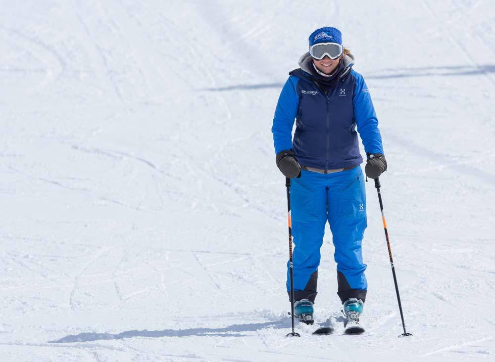 Using ski poles as brakes