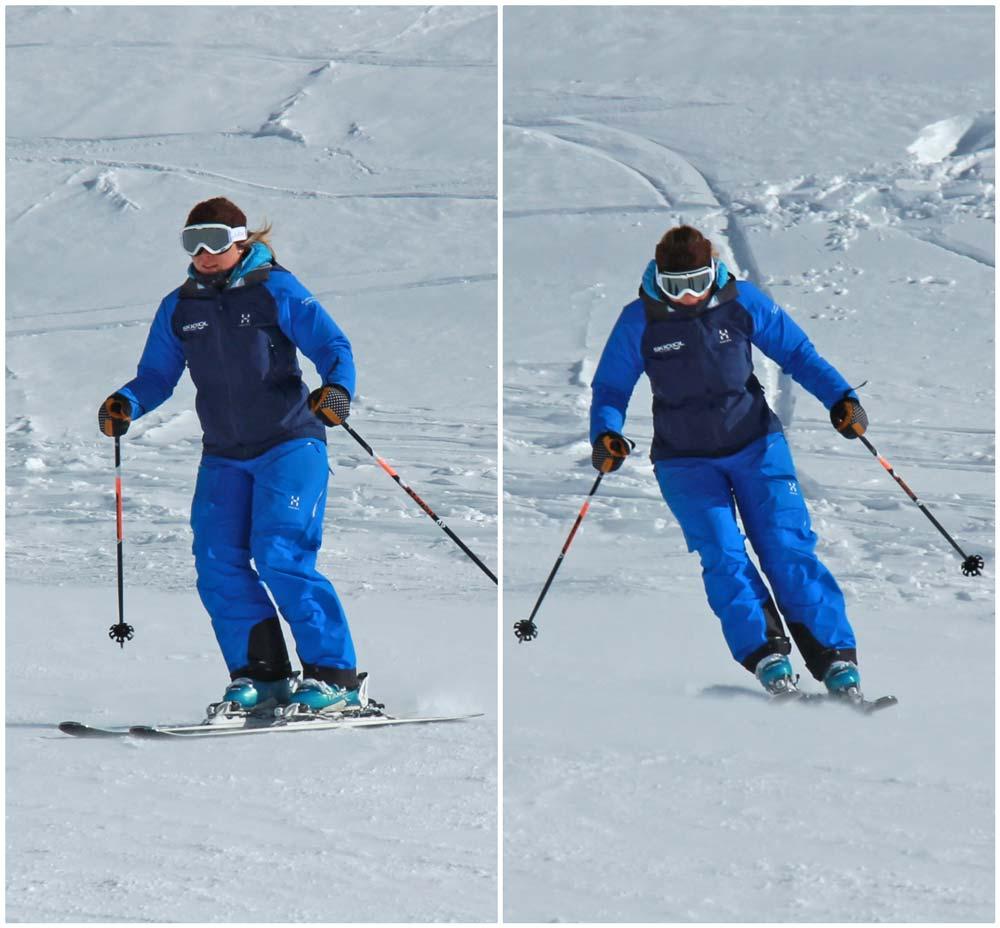 Ski turn, edged to flat
