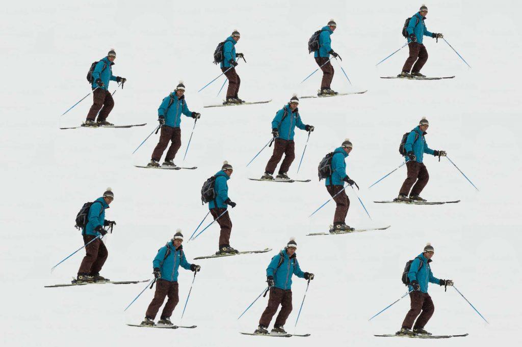 'Falling leaf' exercise on skis