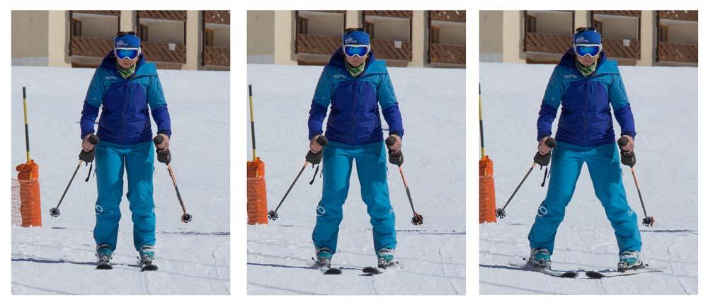 Straight skis to snowplough