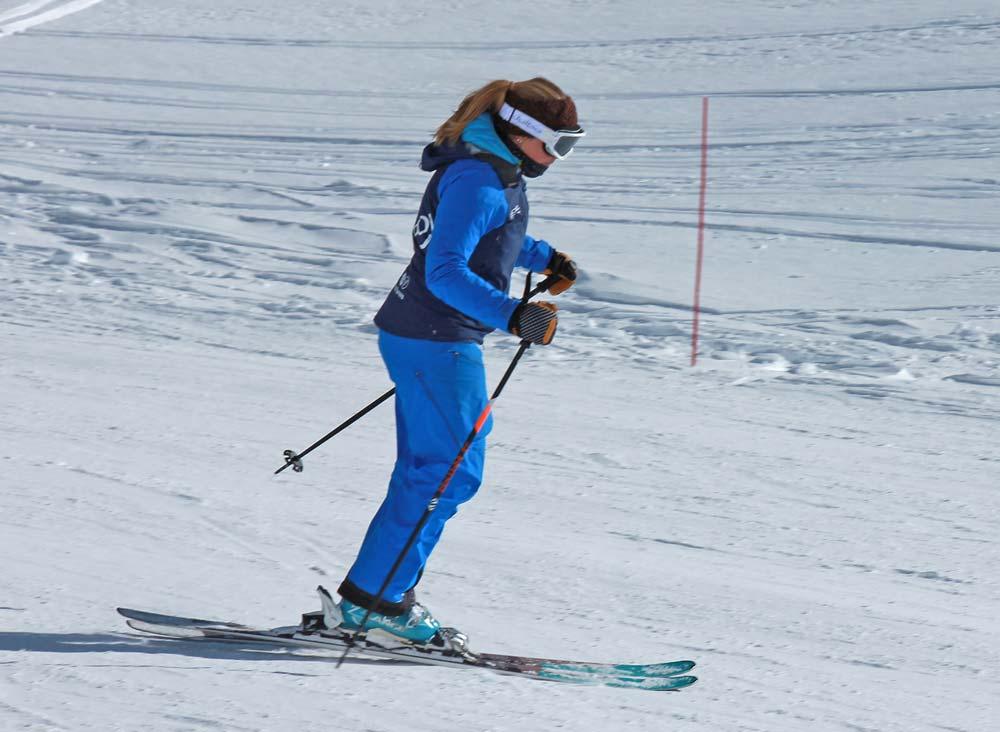 Moving forward to start a ski turn