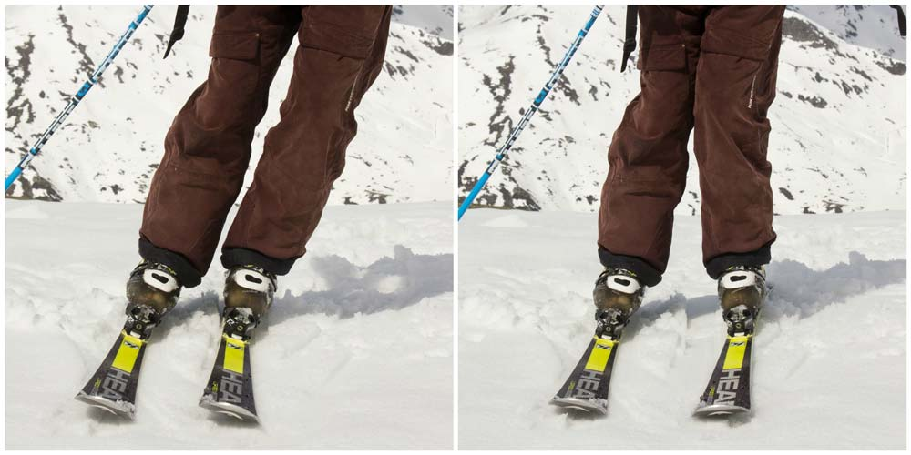 Shins parallel vs not parallel in skiing