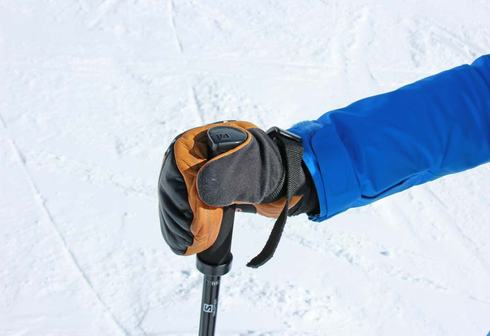Holding the pole strap and pole handle
