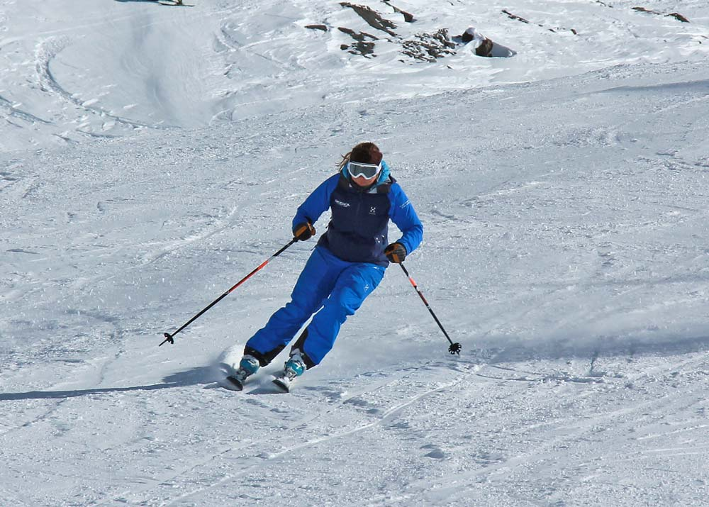 Skidding at the end of a ski turn