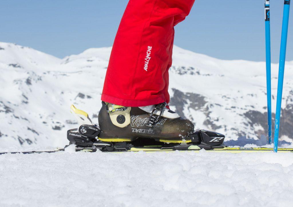 Ski boot in the ski binding