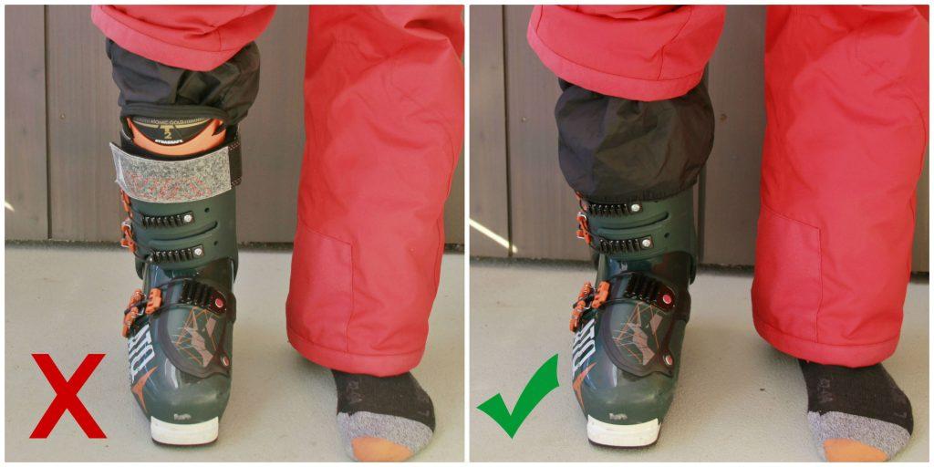 Ski trouser elastic inside and outside boot