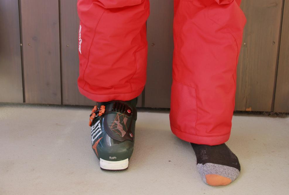 Ski trouser leg pulled down