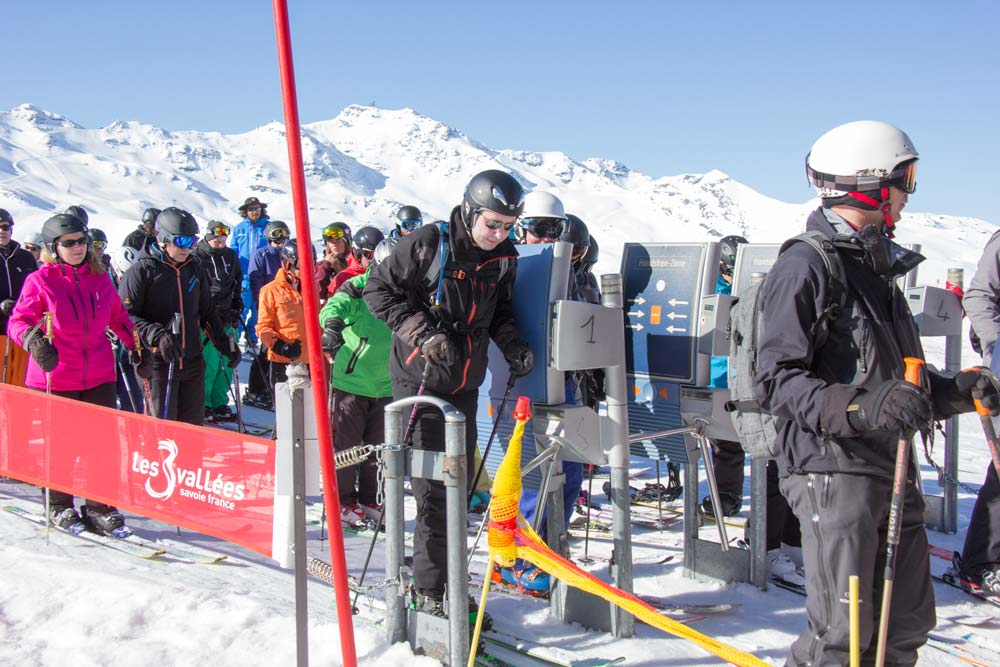 Going through the turnstile to a chairlift